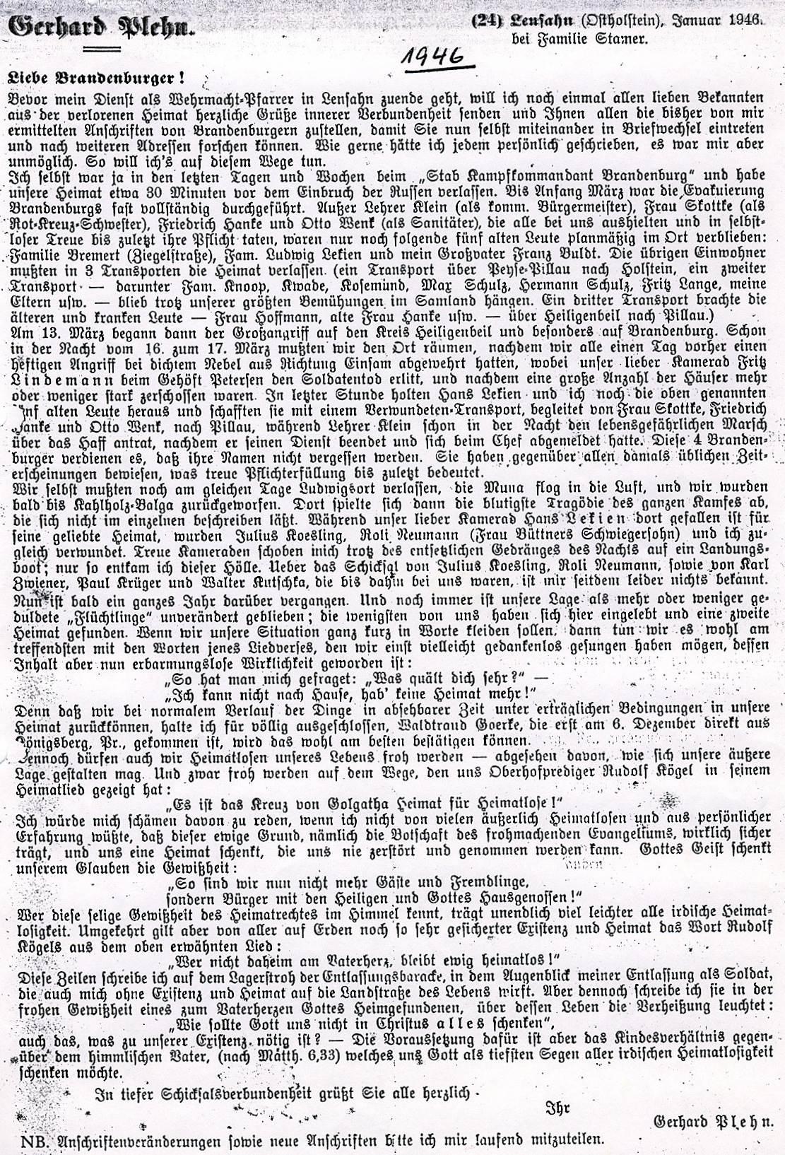 Brief Pfarrer Brandenburg